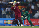 Marlon Samuels drives during his knock of 42 not out, Pakistan v West Indies, 3rd T20I, Abu Dhabi, September 27, 2016