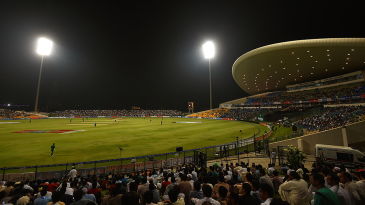 The third T20I in progress at the Sheikh Zayed Stadium