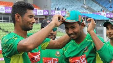 Mosaddek Hossain receives his maiden ODI cap from Mahmudullah