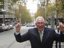 Max Walker strikes a pose in a Melbourne street, 2011