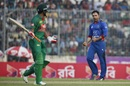 Mohammad Nabi celebrates the wicket of Shakib Al Hasan, Bangladesh v Afghanistan, 2nd ODI, Mirpur, September 28, 2016