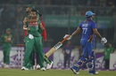 Shakib Al Hasan celebrates with Mashrafe Mortaza after dismissing Mohammad Shahzad, Bangladesh v Afghanistan, 2nd ODI, Mirpur, September 28, 2016