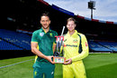 Faf du Plessis and Steven Smith pose with the series trophy, Centurion, September 29, 2016