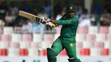 Sharjeel Khan drills one through the off side en route a half-century