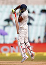 Ravindra Jadeja gets on his toes and defends, India v New Zealand, 2nd Test, Kolkata, 2nd day, October 1, 2016