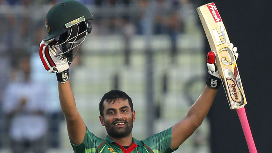 Tamim Iqbal acknowledges the applause of the crowd after getting to his seventh ODI century