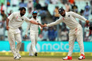 Mohammed Shami reaches out to high five his captain, India v New Zealand, 2nd Test, Kolkata, 3rd day, October 2, 2016