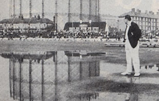 There's life in this dog yet: Cowdrey inspects the wet outfield on the fifth day