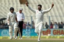 Ravindra Jadeja celebrates the wicket of Henry Nicholls, India v New Zealand, 2nd Test, Kolkata, 4th day, October 3, 2016