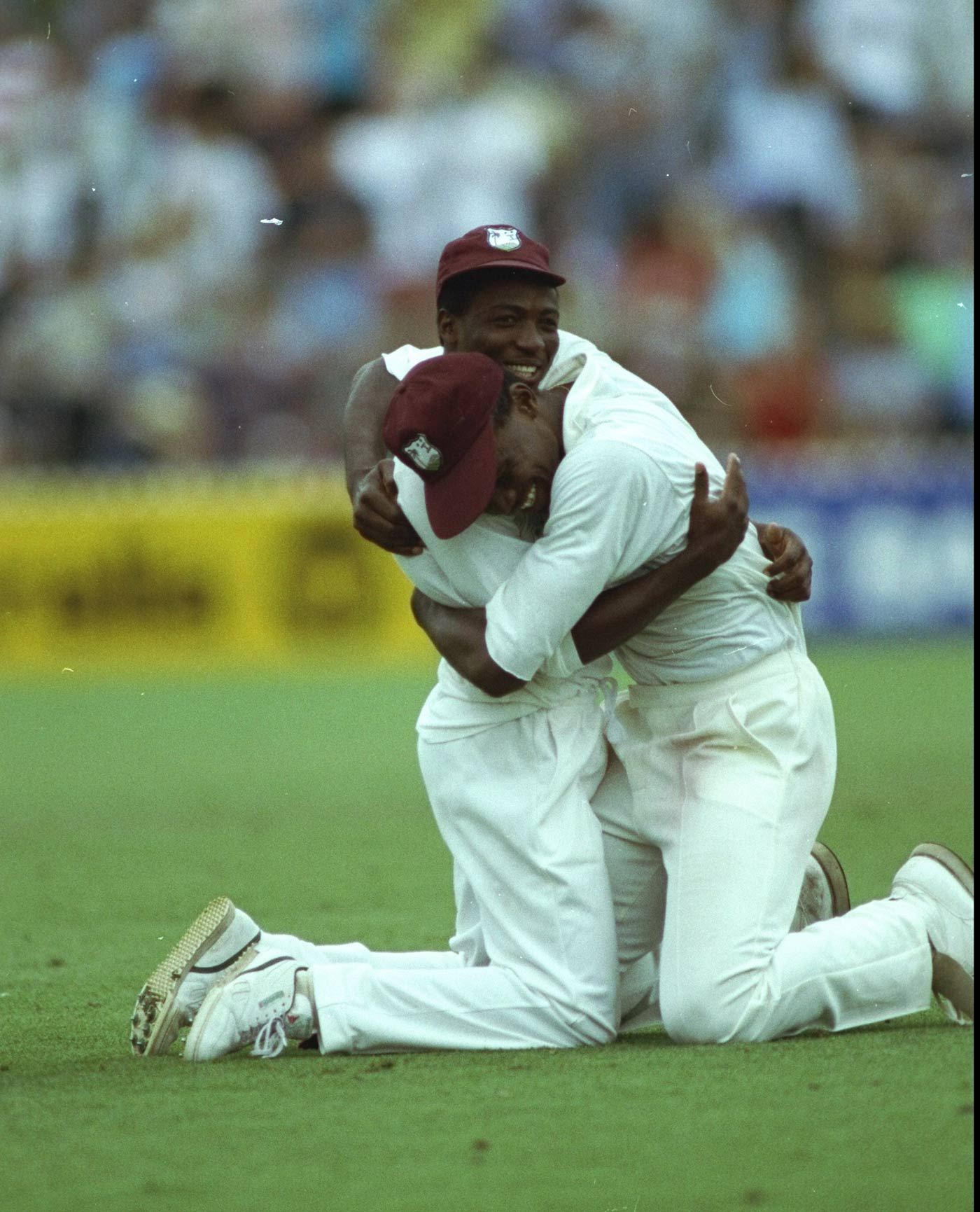 That was close: West Indies celebrate after the Adelaide win in 1993