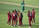 Sulieman Benn celebrates the wicket of Sharjeel Khan, Pakistan v West Indies, 3rd ODI, Abu Dhabi, October 5, 2016