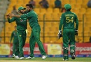 Imad Wasim is greeted by Mohammad Rizwan, Pakistan v West Indies, 3rd ODI, Abu Dhabi, October 5, 2016