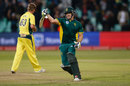 David Miller celebrates leading his side to victory, Australia v South Africa, 3rd ODI, Durban, October 5, 2016