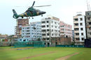 A helicopter takes part in a security exercise in Dhaka ahead of the first ODI, Bangladesh v England, 1st ODI, Dhaka, October 6, 2016