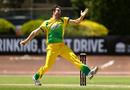 James Bazley in his delivery stride, New South Wales v Cricket Australia XI, Matador Cup 2016-17, Sydney, October 7, 2016