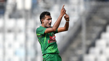 Shafiul Islam celebrates the wicket of James Vince