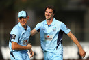 Pat Cummins celebrates a wicket with Daniel Hughes, New South Wales v Cricket Australia XI, Matador Cup 2016-17, Sydney, October 7, 2016