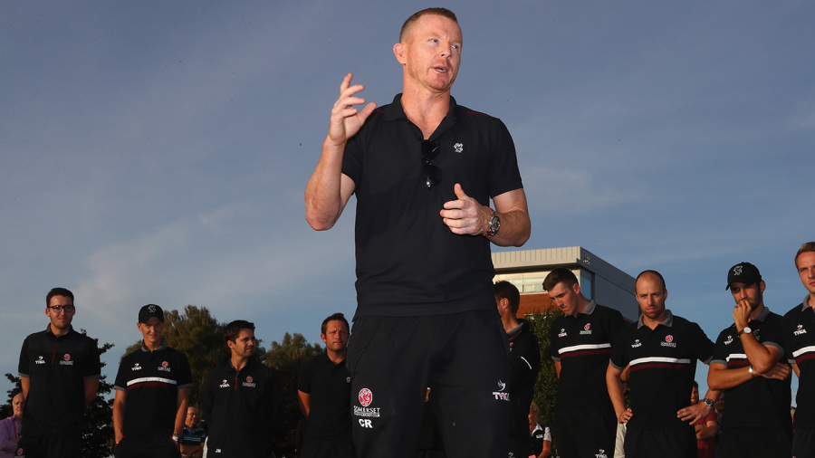Chris Rogers addresses Somerset's supporters