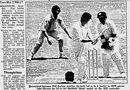 A news report in the <i>Sydney Morning Herald</i> features John Gleeson's dismissal of Phil Carlson in a 1971-72 Shield Game, Sydney, January 2, 1972