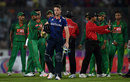 The umpires try to calm tensions as Jos Buttler departs, Bangladesh v England, 2nd ODI, Mirpur, October 9, 2016