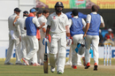 M Vijay walks back after he was run out for 19 early on the fourth day, India v New Zealand, 3rd Test, Indore, 4th day, October 11, 2016