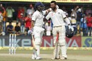 Ajinkya Rahane congratulates Cheteshwar Pujara on his century, India v New Zealand, 3rd Test, Indore, 4th day, October 11, 2016