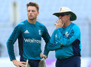 Jos Buttler and Trevor Bayliss chat during training, Chittagong, October 11, 2016