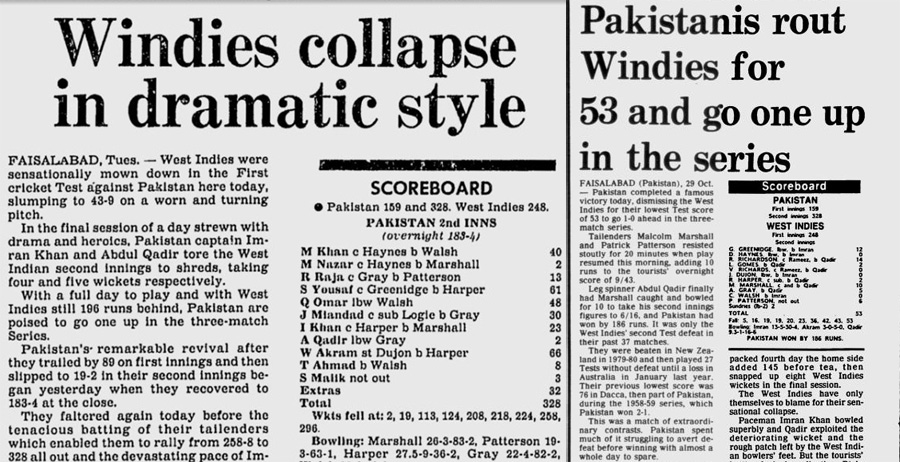 Headlines from day four (left) and day five of the Faisalabad Test