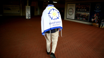 A Hampshire supporter walks into the Ageas Bowl