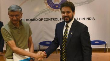 BCCI secretary Ajay Shirke with BCCI president Anurag Thakur