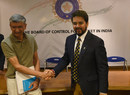 BCCI secretary Ajay Shirke with BCCI president Anurag Thakur during a press conference at BCCI headquarters, Mumbai, May 22, 2016