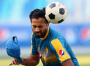 Hats off! Wahab Riaz heads the ball while training, Dubai, October 12, 2016