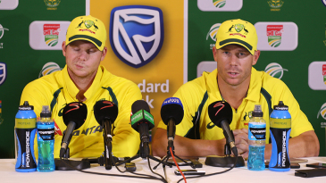 Steven Smith and David Warner address a press conference