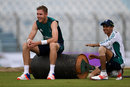 Stuart Broad and Haseeb Hameed take a breather, Chittagong, October 13, 2016