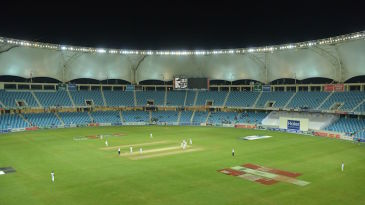 A view of the Dubai International Cricket Stadium after the lights came on