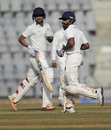 Swapnil Gugale and Ankit Bawne run between the wickets during their unbroken double-century stand that  eventually rose to 594, Maharashtra v Delhi, Ranji Trophy 2016-17, Group B, Mumbai, 1st day, October 13, 2016