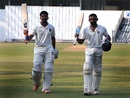 Swapnil Gugale and Ankit Bawne walk off after their record-breaking partnership, Maharashtra v Delhi, Ranji Trophy 2016-17, Mumbai, October 14, 2016