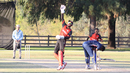 Hamza Tariq celebrates after Salman Nazar bowls Prashanth Nair to end the match, USA v Canada, Auty Cup, Los Angeles, October 14, 2016