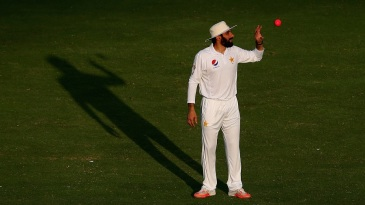 Misbah-ul-Haq gets up close and personal with the pink ball