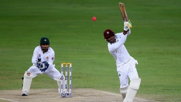 Marlon Samuels launches the ball over the top