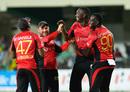Dwayne Bravo, Brendon McCullum, Kevon Cooper and Sulieman Benn celebrate a wicket, Jamaica Tallawahs v Trinbago Knight Riders, CPL 2016. Jamaica, July 18, 2016