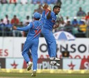 Umesh Yadav celebrates one of his two early wickets, India v New Zealand, 1st ODI, Dharamsala, October 16, 2016