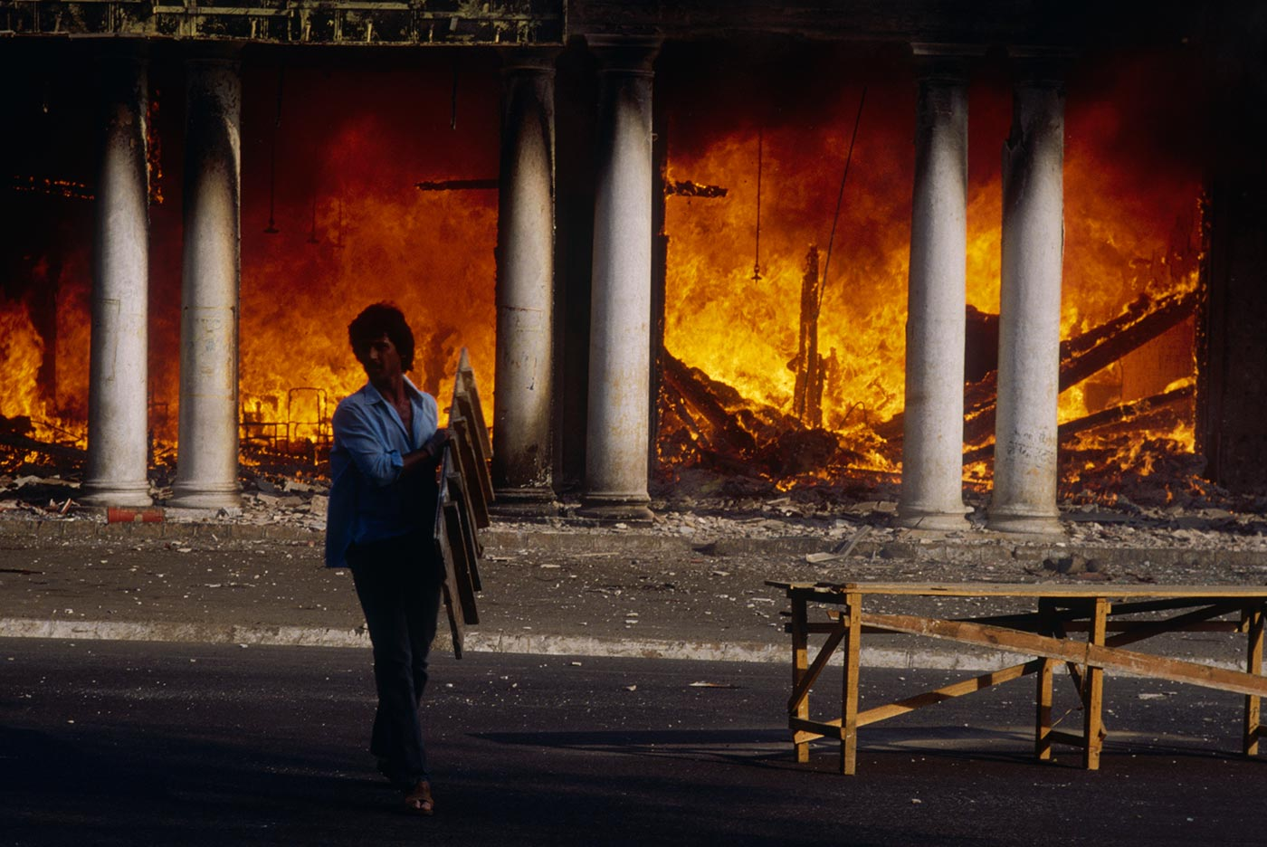 A building burns in the riots that engulfed New Delhi in the aftermath of the assassination of Indira Gandhi