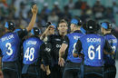 Doug Bracewell celebrates the wicket of Rohit Sharma, India v New Zealand, 1st ODI, Dharamsala, October 16, 2016