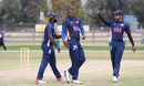 Elmore Hutchinson gets congratulated after taking the wicket of Shehan Kamileen, USA v Canada, Auty Cup, Los Angeles, October 16, 2016