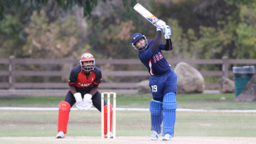 Ravi Timbawala lofts straight down the ground for one of his seven boundaries