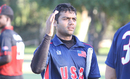 Ravi Timbawala goes to high five a team-mate after walking off unbeaten on 73, USA v Canada, Auty Cup, Los Angeles, October 16, 2016