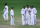 Wahab Riaz is congratulated after bowling Shane Dowrich for a duck, Pakistan v West Indies, 1st Test, Dubai, 5th day, October 17, 2016