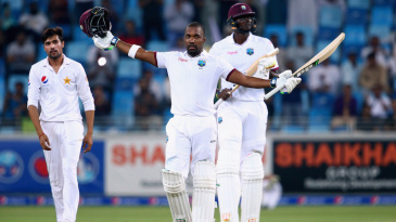 Darren Bravo celebrates his fighting hundred