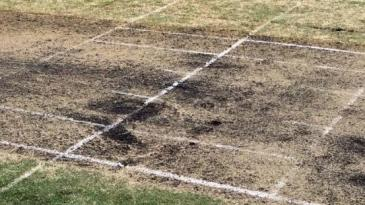 The wicket at Harry Trott Oval, which was eight feet too long